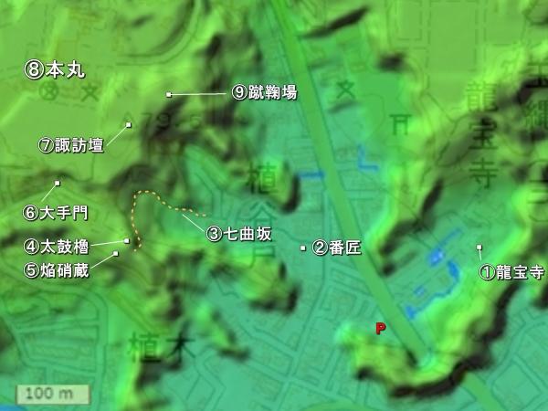 玉縄城地形図