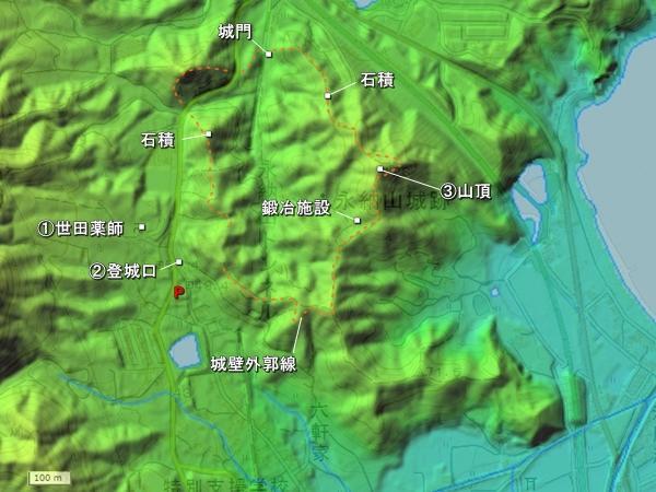 永納山城地形図