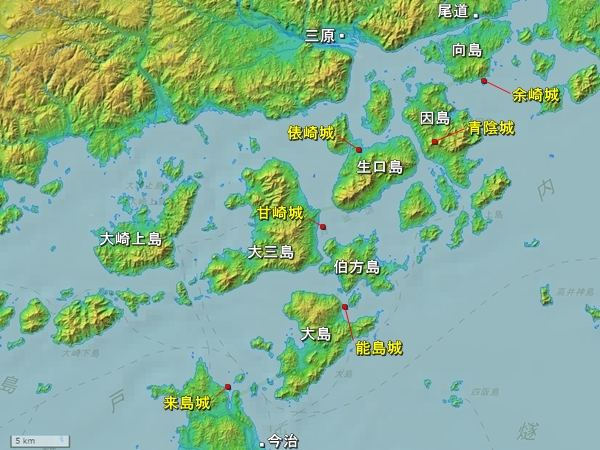 芸予諸島地形図