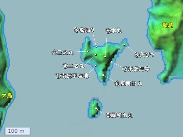 能島城地形図