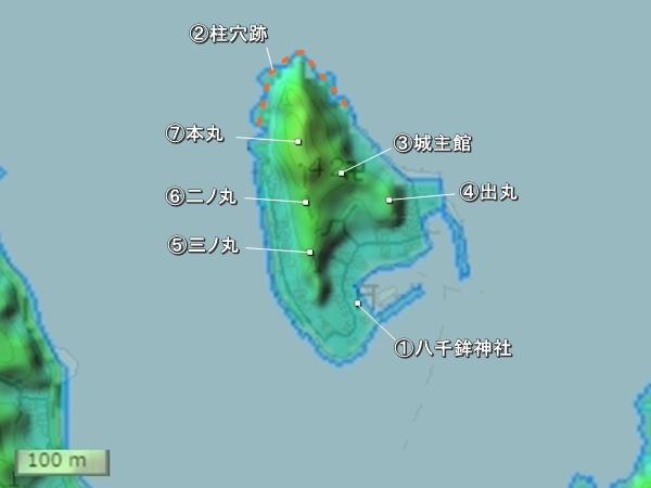来島城地形図