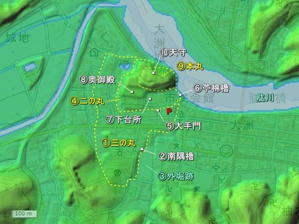 大洲城地形図