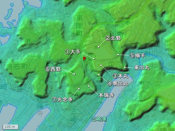 三崎城地形図