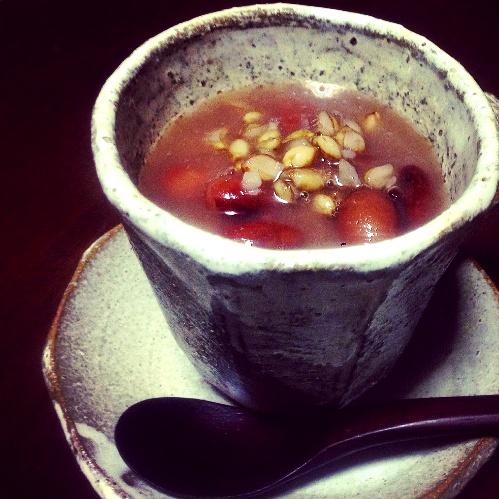 金時豆と大麦のぜんざい