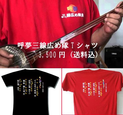 呼夢三線広め隊 てぃんさぐぬ花 Tシャツ