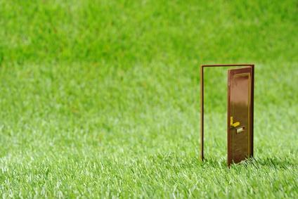 芝生とドア