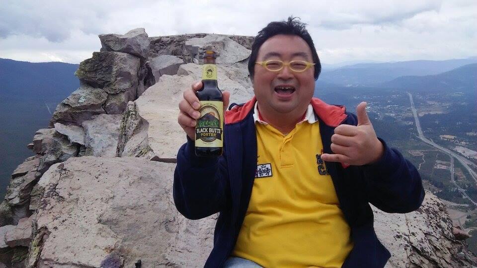 山頂でビールと