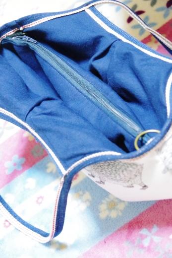変形、マチなしグラニーバッグ、ファスナーポケ付き