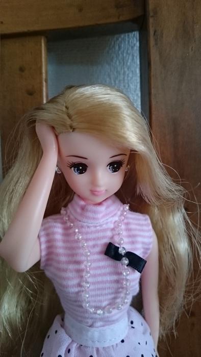 高校生きらピンクガーリー髪かき上げ
