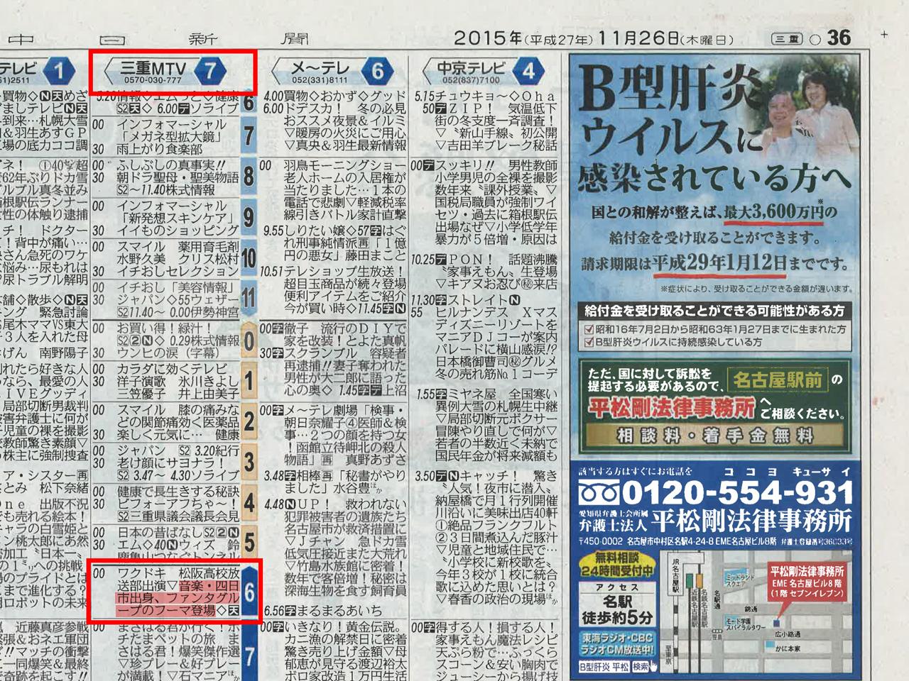 中日新聞朝刊2015年11月26日(木)