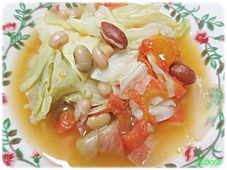 キャベツと冷凍保存しておいたトマトでスープ煮