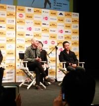 「あの日の午後」ツァイ・ミンリャン監督(左)、出演のリー・カンション(右