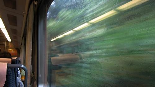 IMG_4475 車窓 緑が飛ぶ