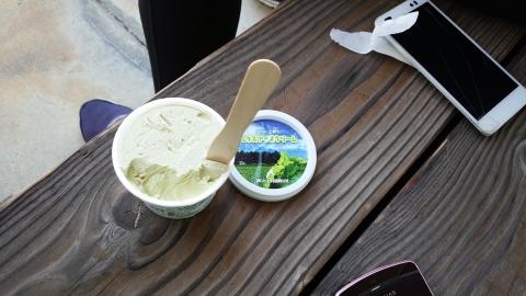 レタスアイス、、食べはじめはレタスの生臭さが気になったけど慣れてくると抹茶な感じで美味しかったです。