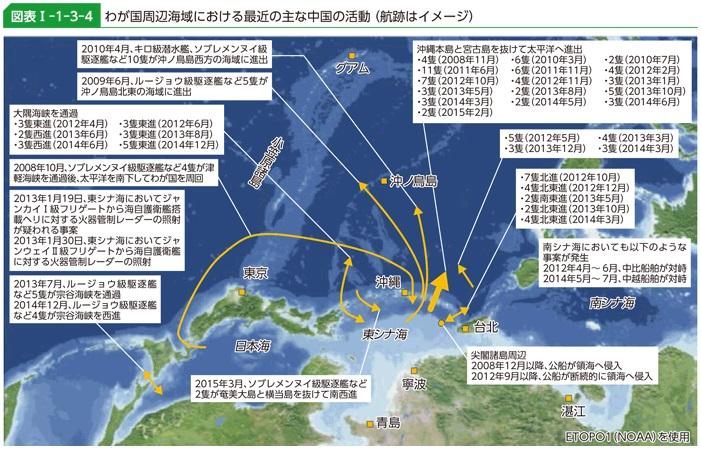 わが国周辺海域における最近の主な中国の活動