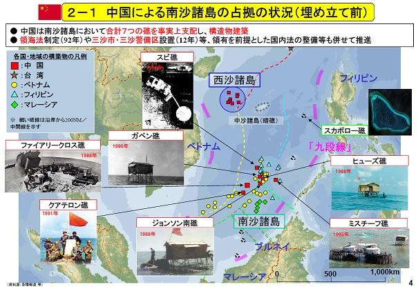 中国による南沙諸島の占拠の状況(埋め立て前)