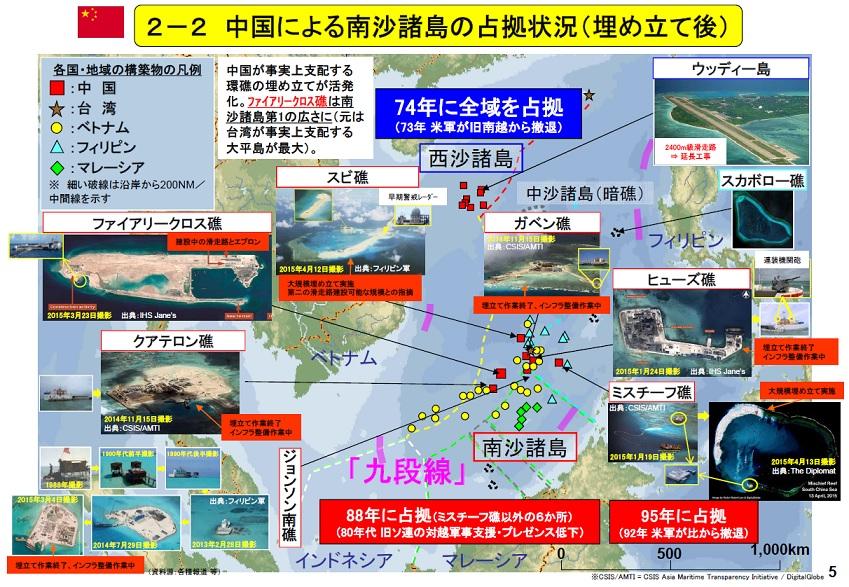 中国による南沙諸島の占拠状況(埋め立て後)