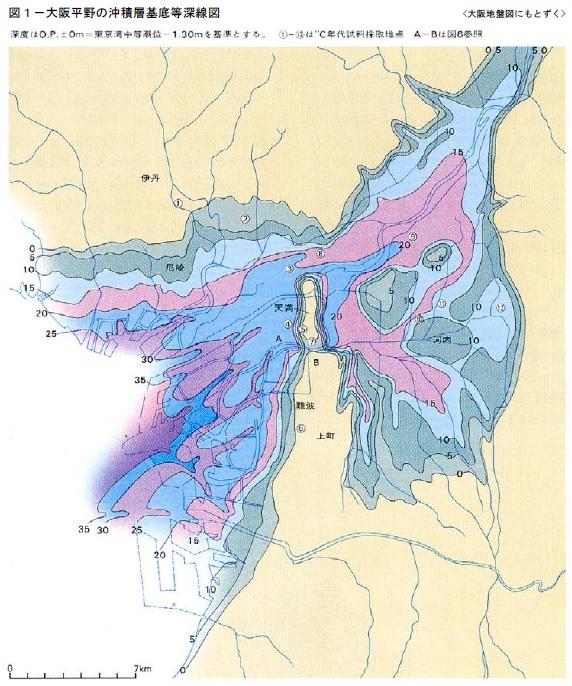 大阪平野の沖積層基底等深線図