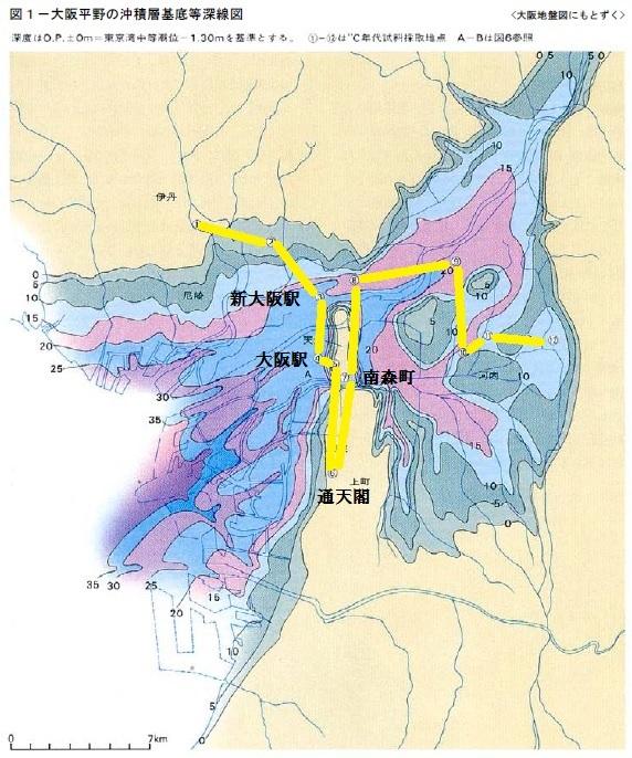 大阪平野の沖積層基底等深線図 3