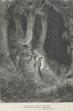 地獄篇の冒頭。気が付くと深い森の中におり、恐怖にかられるダンテ。 ギュスターヴ・ドレ による挿絵