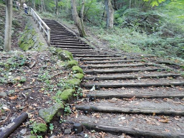 眼鏡橋に続く木の階段