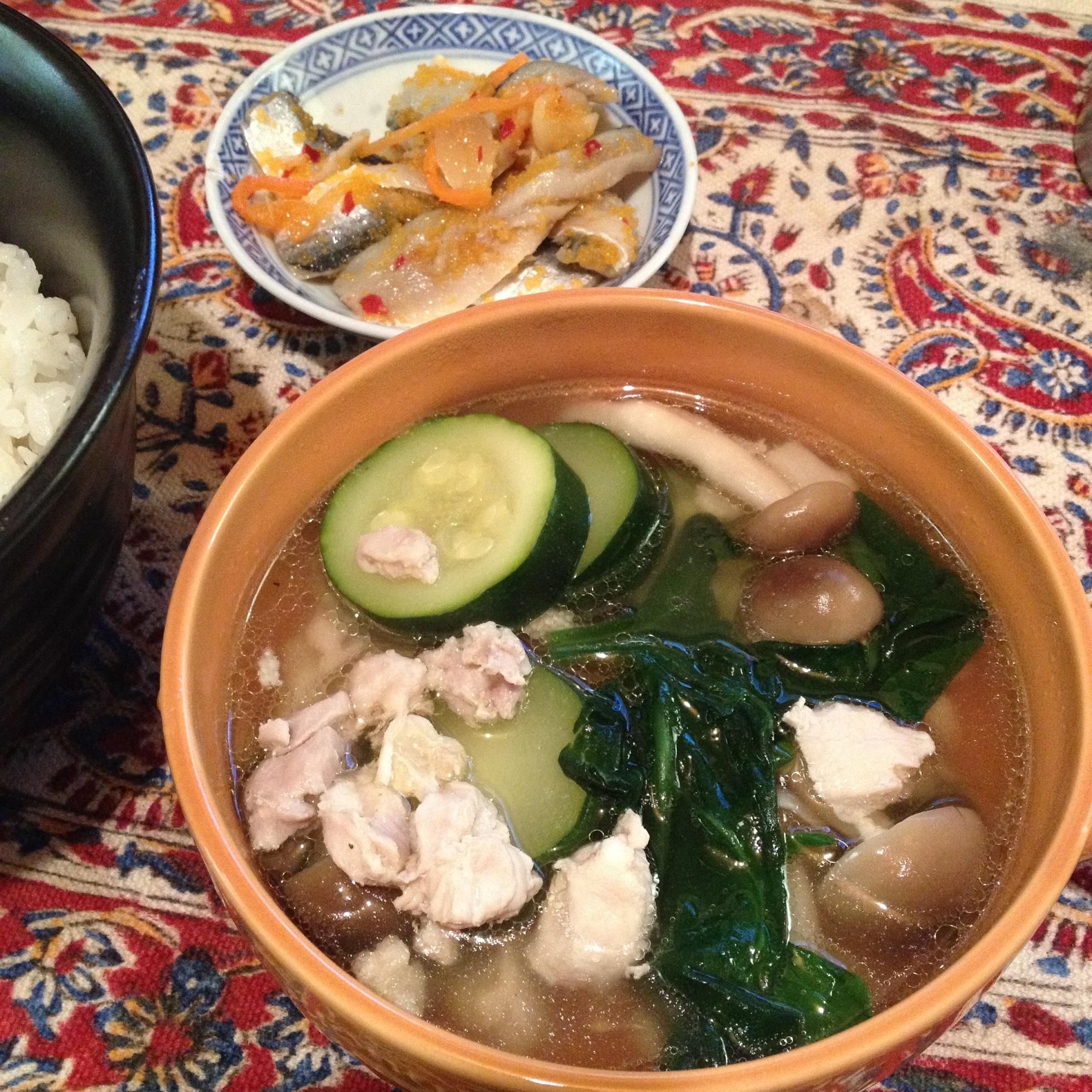 鶏肉とズッキーニのスープ定食