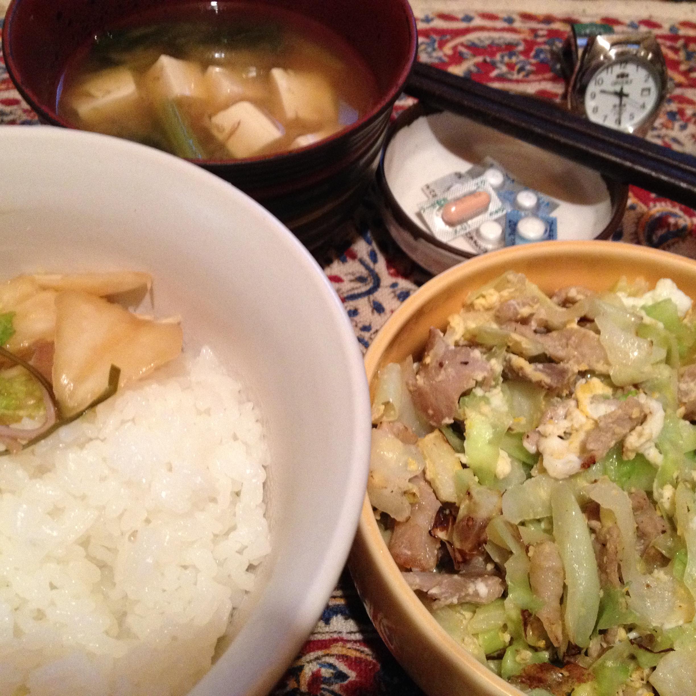 ラム豚キャベツ炒め定食