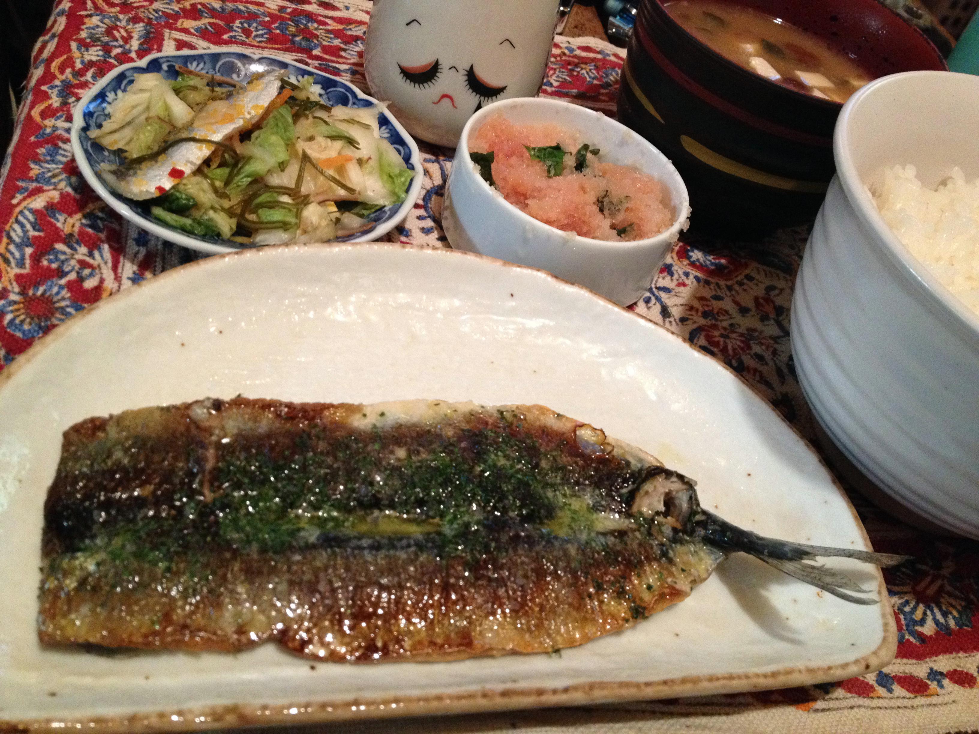 秋刀魚開き焼き定食