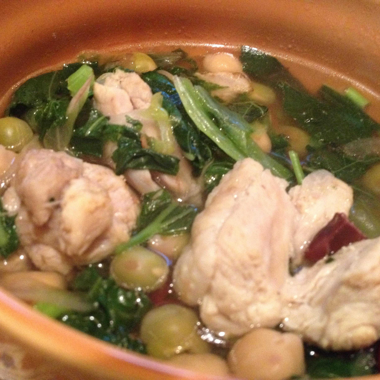 鶏と豆のスープ