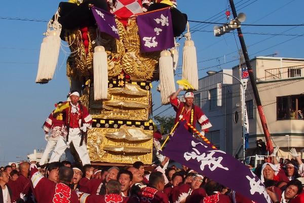 新居浜太鼓祭り 多喜浜駅前 9台のかきくらべ 澤津太鼓台
