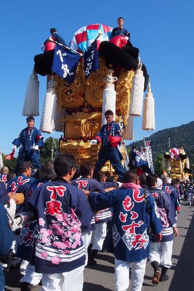 新居浜太鼓祭り 山根統一寄せ 会場へ向かう下泉太鼓台