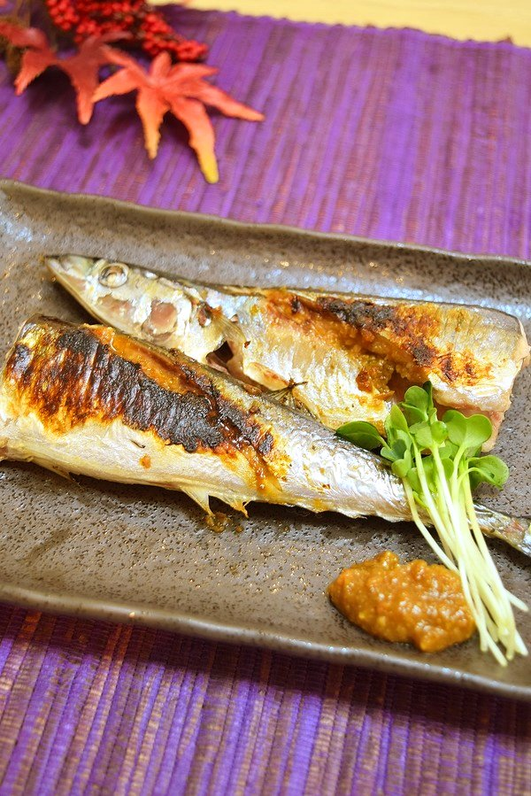 秋刀魚の柚子こしょう味噌焼き♪600