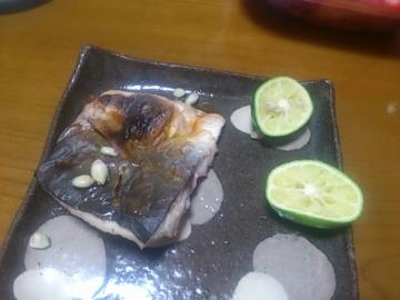焼き魚に酢橘。
