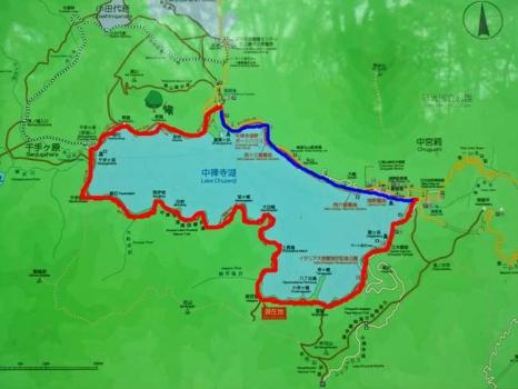 中禅寺湖一周の地図
