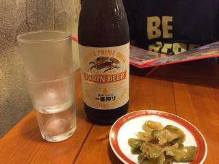 瓶ビールとザーサイ