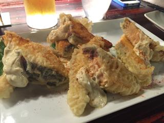 サーモンステーキ、香草マリネのテンプラ