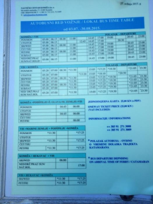 ヴィス島のバス時刻表 (1)