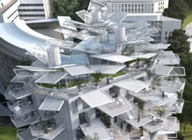 フランス/モンペリエ -L'Arbre Blanc複合施設の完成パース図面