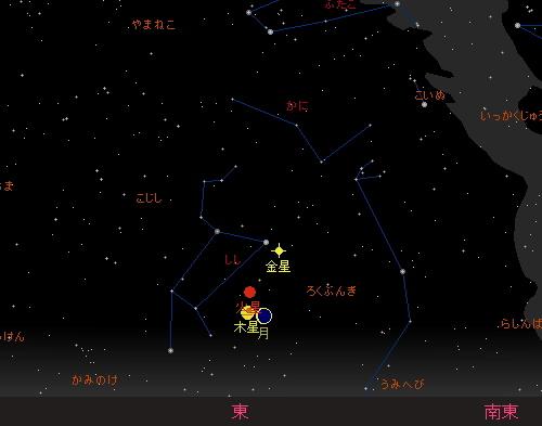 20151010 細い月と火星・木星の接近星図1