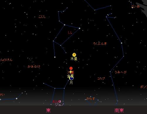 20151107~08 細い月と星の並び 8日星図