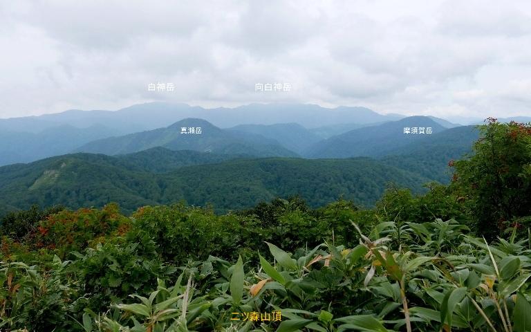 二ツ森山頂から4、白神岳と向白神岳