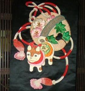 狛犬刺繍帯