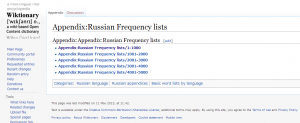 Russian Frequency lists