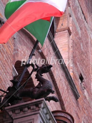 4037573 イタリア国旗とドラゴン像