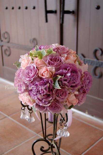 アンティーク ブーケ 紫 秋 結婚式 落ちついた