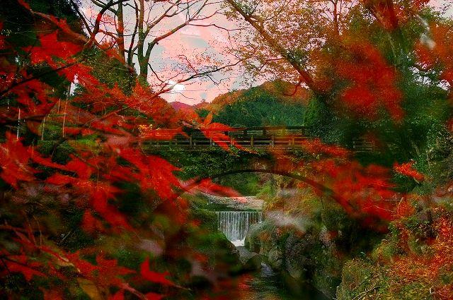 猿飛千壷峡 念仏橋の景(多重露出)
