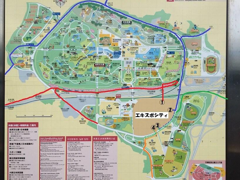 エキスポシティアクセス全体地図