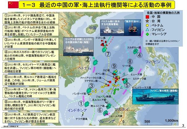 最近の中国の軍、海上法執行機関等による活動の事例