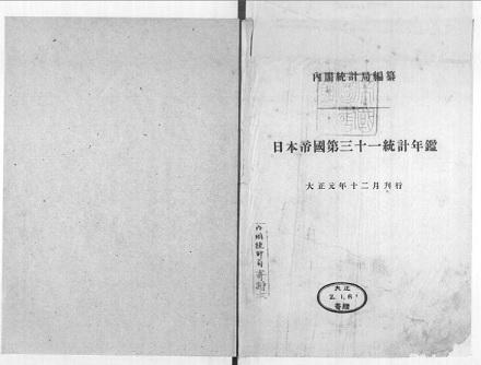 日本帝国第31統計年鑑 大正元年12月刊行
