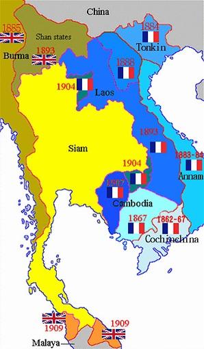 イギリスとフランスによる植民地化を現した図。